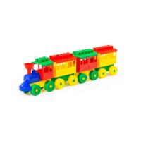 Baustein Eisenbahn mit drei Waggons