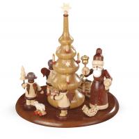 Motivplattform für Elektr. Spieldosen Weihnachtsmann und Geschenkeengel Natur, 15cm,